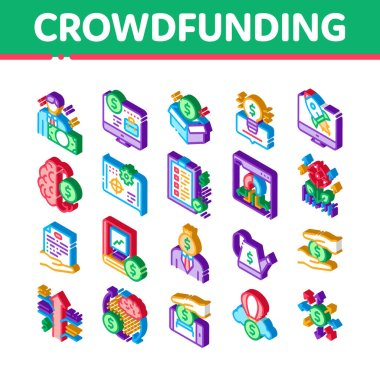 Crowdfunding Business Icons Set Vector. Isometric Crowdfunding Financial Web Site And Book, Dollar Banknote And Coin, Brain And Box Illustrations icon