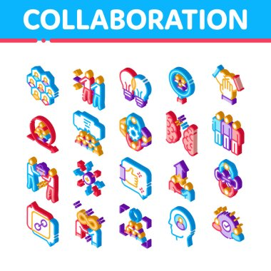 Collaboration Work Icons Set Vector. Isometric Human And Brain Collaboration, Worker Research And Handshake, Cooperation And Organization Illustrations icon
