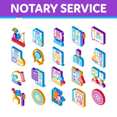 Notary Service Agency Icons Set Vector. Isometric Agreement And Law Research, Document With Stamp And Signature, Notary Service Information Illustrations icon