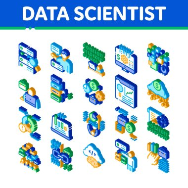 Data Scientist Worker Icons Set Vector. Isometric Server And Web Site Research, Programmer And Data Scientist, Binary Code And Infographic Illustrations icon