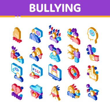 Bullying Aggression Icons Set Vector. Isometric Internet Bullying And Name-calling, Beating And Showing Indecent Gesture Illustrations icon