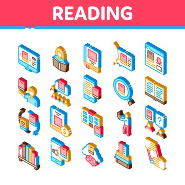 Reading Library Book Icons Set Vector. Isometric Reading And Learning, Smartphone And Computer Education E-book, Shelf With Literature Illustrations icon
