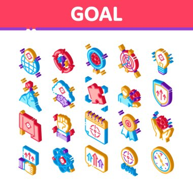 Goal Target Purpose Icons Set Vector. Isometric Goal Aim On Planet And Lightbulb, Atom And Flag, Calendar And Medal Award Illustrations icon