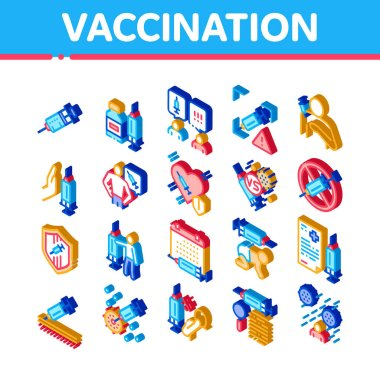 Vaccination Syringe Icons Set Vector. Isometric Healthcare Vaccination, Baby And Human Health Care Injection, Virus And Disease Research Illustrations icon