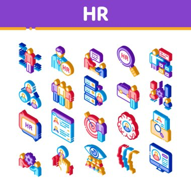 Hr Human Resources Icons Set Vector. Isometric Hr Management And Research, Strategy And Interview, Brainstorm And Disscusion Illustrations icon