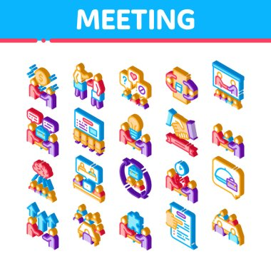 Business Meeting Conference Icons Set Vector. Isometric Business Meeting And Seminar, Businessman Partnership, Communication And Talking Illustrations icon