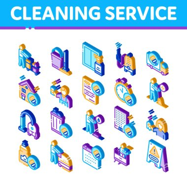 Cleaning Service Tool Icons Set Vector. Isometric Liquid For Clean Window And Wash Floor, Vacuum Cleaner And Bucket Cleaning Service Illustrations icon