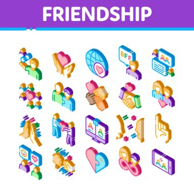 Friendship Relation Icons Set Vector. Isometric Handshake And Friendship Gesture, Love And Partnership, Internet Communication Illustrations icon