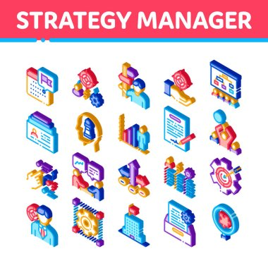 Strategy Manager Job Icons Set Vector. Isometric Contract Signing And Customer Database, Business Direction Strategy Manager Illustrations icon