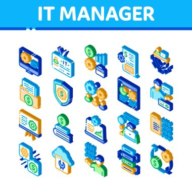 It Manager Developer Icons Set Vector. Isometric It Manager Badge And Binary Code, Web Site Development And Programming Illustrations icon