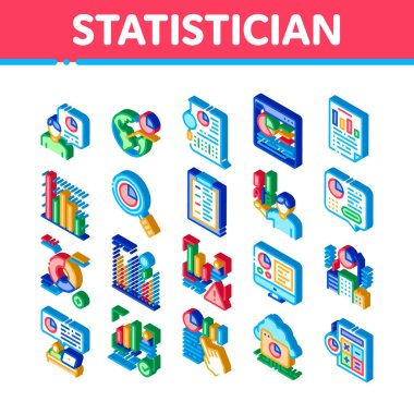 Statistician Assistant Icons Set Vector. Isometric Statistician Research And Document File, Web Site On Computer Screen And Cloud Storage Illustrations icon