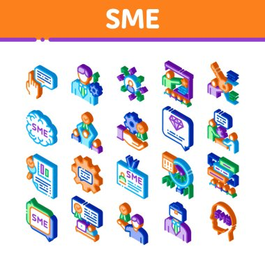 Sme Business Company Icons Set Vector. Isometric Sme Small And Medium Enterprise, Communication And Education, Badge And Case Illustrations icon