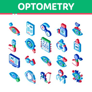 Optometry Medical Aid Icons Set Vector. Isometric Optometry Doctor Equipment And Pills Bottle, Eye Drops And Glasses, Research And Health Illustrations icon
