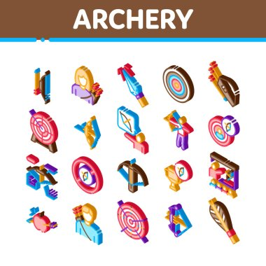Archery Activity Sport Icons Set Vector. Isometric Archery Target And Equipment, Crossbow And Bow, Arrow And Archer, Championship Cup Illustrations icon