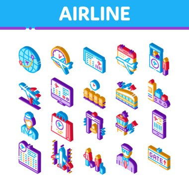 AirAnd Airport Icons Set Vector. Isometric AirWorldwide Direction And Ticket, Pilot And Stewardess, Airplane And Calendar Illustrations icon