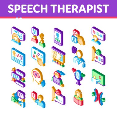 Speech Therapist Help Icons Set Vector. Isometric Speech Therapist Therapy, Alphabet And Blackboard, Phone And Microphone Illustrations icon