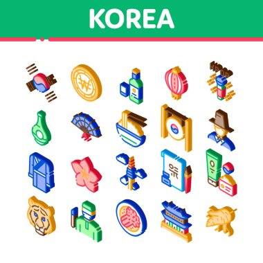 Korea Traditional Icons Set Vector. Isometric Korea Flag And Wearing, Food And Drink, Palace Building And Gong, Fan And Lantern Illustrations icon