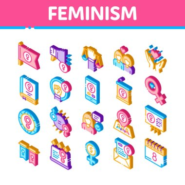 Feminism Woman Power Icons Set Vector. Isometric Feminism Symbol On Flag And Gps Mark, Lesbians And Hand Hold Scales, Equality And Love Illustrations icon