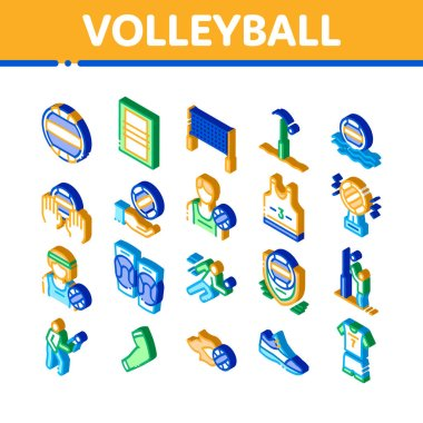 Volleyball Sport Game Icons Set Vector. Isometric Volleyball Ball In Water And Grid, Athlete Equipment And Sneaker Illustrations icon