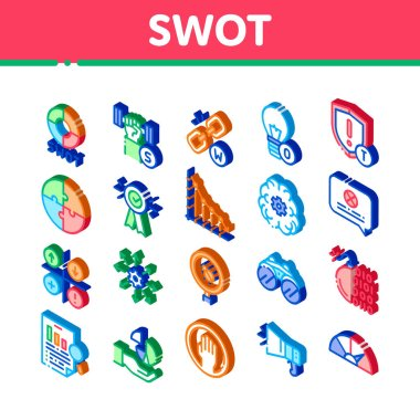 Swot Analysis Strategy Icons Set Vector. Isometric Swot Infographics And Broken Chain, Lightbulb, Shield And Brain With Gear Illustrations icon