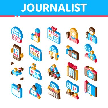 Journalist Reporter Icons Set Vector. Isometric Journalist And Hand With Microphone, Video And Photo Camera, Press And Live News Illustrations icon