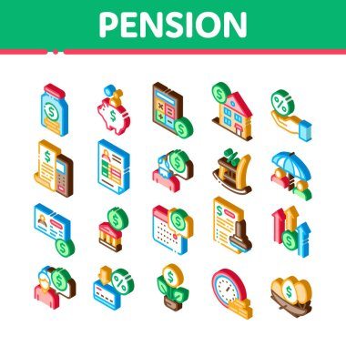 Pension Retirement Icons Set Vector. Isometric Money in Glass Bottle And Box, Calculator And Clock, Pension Finance Illustrations icon