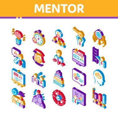 Mentor Relationship Icons Set Vector. Isometric Human Holding Key And Gear, Stopwatch And Mountain With Flag, Mentor Illustrations icon
