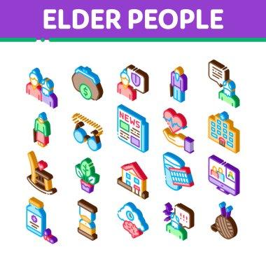 Elder People Pensioner Icons Set Vector. Isometric Medicine Pills For Elder People, Glasses, Hospital, Newspaper And Plant Illustrations icon