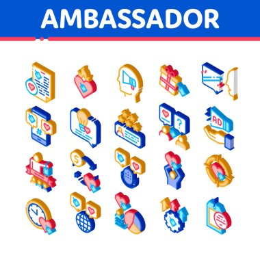 Ambassador Creative Icons Set Vector. Isometric Loudspeaker And Gift, Human Holding Heart And Speaking, Ambassador Illustrations icon