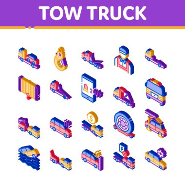 Tow Truck Transport Icons Set Vector. Isometric Tow Truck Evacuating And Transportation Broken Car, Winch And Hook Illustrations icon