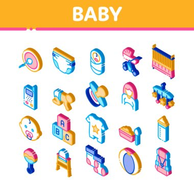 Baby Clothes And Tools Icons Set Vector. Isometric Baby And Pregnancy Woman, Stroller And Diaper, Toys And Nipple Illustrations icon