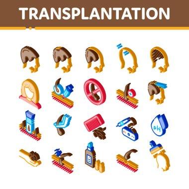 Hair Transplantation Icons Set Vector. Isometric Balding And Baldness Man Head, Shampoo And Medicine In Bottle Transplantation Illustrations icon