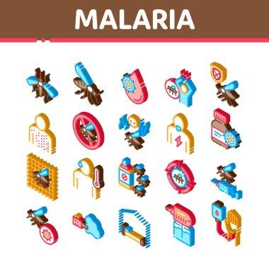 Malaria Illness Dengue Icons Set Vector. Isometric Malaria Mosquito, Spray And Protect Cream Bottle, Sick Human And Treatment Illustrations icon