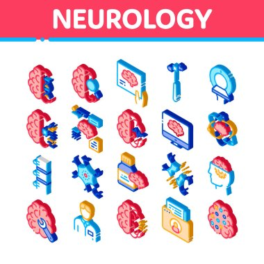 Neurology Medicine Icons Set Vector. Isometric Neurology Equipment And Neurologist, Brain And Nervous System, Nerves And Files Illustrations icon