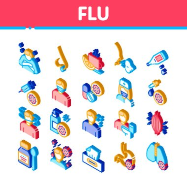 Flu Symptoms Medical Icons Set Vector Chills And Fever, Cough And Runny Nose, Flu Virus In Lungs And Stomach Illustrations icon