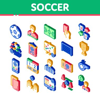 Soccer Football Game Icons Set Vector. Isometric Soccer Playing Ball, Player And Arbitrator Man Silhouette, Cup And Whistle Illustrations icon