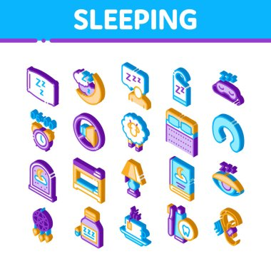 Sleeping Time Devices Icons Set Vector. Isometric Sleeping Human Silhouette, Pillow And Bed, Clock And Book, Moon And Cup Of Tea Illustrations icon