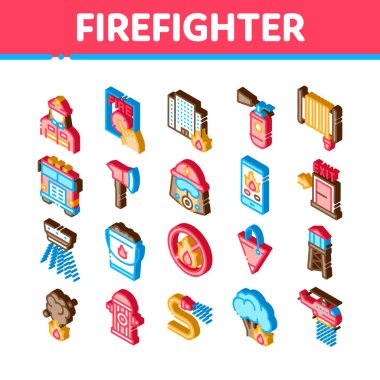 Firefighter Equipment Icons Set Vector. Isometric Firefighter Man Silhouette In Mask, Extinguisher, Axe And Fire Department Truck Illustrations icon