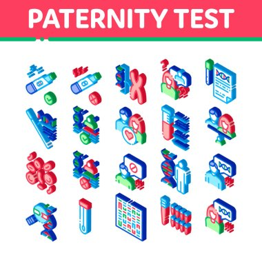 Paternity Test Dna Icons Set Vector. Isometric Man And Woman Silhouette, Chemistry Laboratory Test And Chromosome Illustrations icon