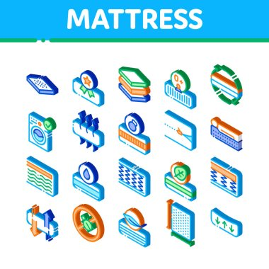 Mattress Orthopedic Icons Set Vector. Isometric Bedding Soft Mattress With Memory For Support Healthy Spine From Foam Material Illustrations icon