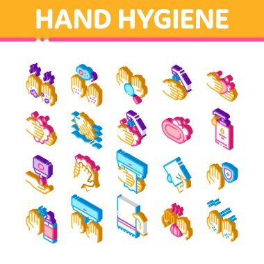 Hand Healthy Hygiene Icons Set Vector. Isometric Hand Protection, Washing With Anti Bacterial Soap And Foam, Paper Illustrations icon