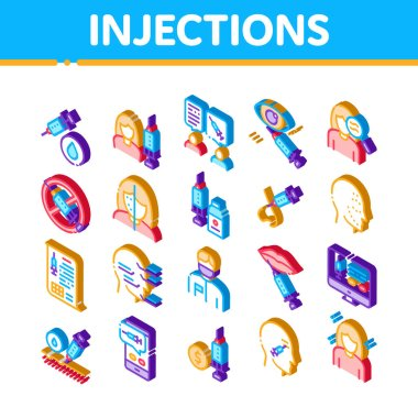 Injections Elements Icons Set Vector. Isometric Anti-ageing Treatments Procedure, Fillers Medical Cosmetic Injections Illustrations icon