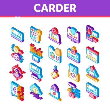 Carder Hacker Elements Icons Set Vector. Isometric Carder Silhouette And Smartphone, Bug And Fraud Virus, Laptop And Card Illustrations icon