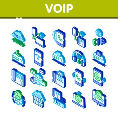 Voip Calling System Icons Set Vector. Isometric Server For Voice Ip And Cloud, Smartphone And Phone, Wifi Mark And Headphones Illustrations icon