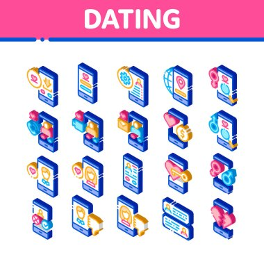 Dating App Elements Icons Set Vector. Isometric Smartphone Mobile Dating Love Application . Profile Avatar, Like And Broken Heart Illustrations icon