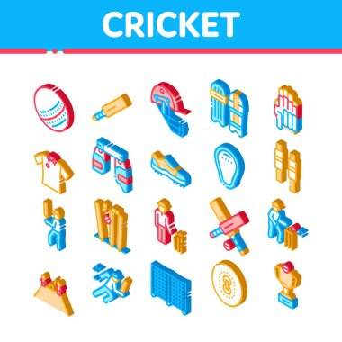 Cricket Game Elements Icons Set Vector. Isometric Cricket Ball And Bat, T-shirt And Spike Sneakers, Gaming Equipment And Cup Illustrations icon