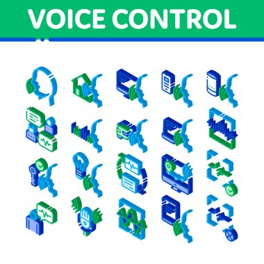 Voice Control Elements Icons Set Vector. Isometric Voice Controlling Smart House And Car, Laptop And Smartphone Illustrations icon