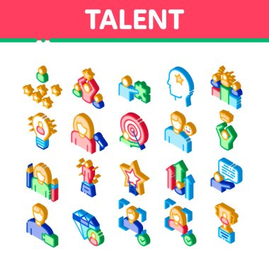 Human Talent Elements Icons Set Vector. Isometric Idea And Target, Diamond And Star, Signer, Speaker And Actor Talent Illustrations icon