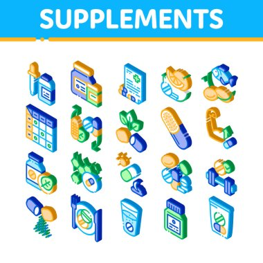 Supplements Elements Icons Set Vector. Isometric Pills And Drugs, Plastic Container With Dropper Bio Healthcare Supplements Illustrations icon