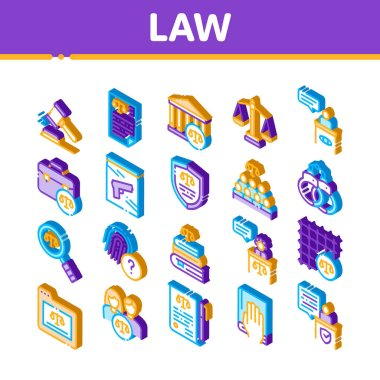 Law And Judgement Icons Set Vector. Isometric Courthouse And Judge, Gun And Magnifier, Fingerprint And Suitcase, Law Document Illustrations icon